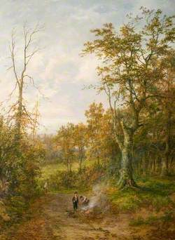 Woodland Scene with Figures on a Track