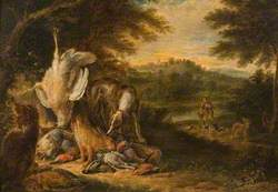 Landscape with Sportsman, Hunting Dogs and Dead Game