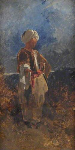 Standing Figure in a White Turban with a Red Sash