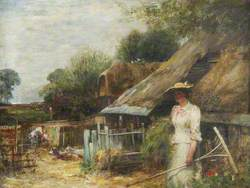 Farmyard, Girl in a White Dress