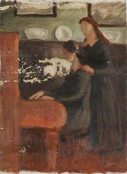 Two Girls Playing the Piano