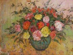 Roses in a Green Bowl