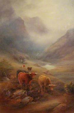 Highland Cattle with a Stream and a Mountain Valley