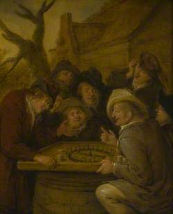 A Group of Men Gathered around a Table Playing a Game of Rouge et Noir