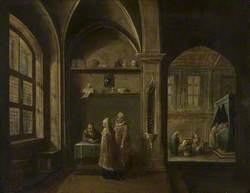 A Renaissance Interior with Figures: Birth of Saint John