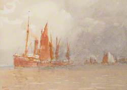 Sailing Boats Tied Up to a Steamer