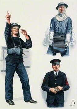 Anti-Aircraft Home Waters, Royal Navy, World War Two: Rating Home Waters, 1942; Anti-Aircraft Rating Third Class, Home Waters, 1942; Petty Officer Anti-Aircraft Rating First Class, Home Waters, 1944