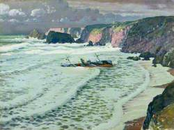Pentreath Beach, Cornwall with Wreck of the ST 'Maud', 11 February 1912
