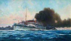 The Smoke Screen: Destroyers Throwing a Smoke Screen around Hospital Ship 'Karapara' after Hospital Ship 'Dover Castle' Had Been Torpedoed by an Enemy Submarine