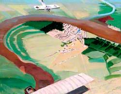 Siege of Kut-el-Amara Seen from the Air: British 'Maurice Farman' Aeroplane Approaching, Attacked by Enemy 'Fokker'