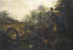 Figure on a Bridge with River and Buildings