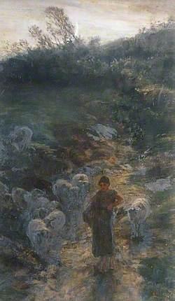 Shepherd Girl with Sheep in Moonlight