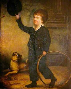 Boy with a Hoop and a Dog Chasing a Butterfly
