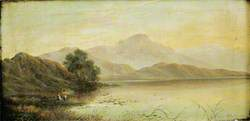 Lake Scene with Men Fishing