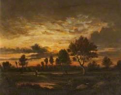 Paysage au soleil couchant