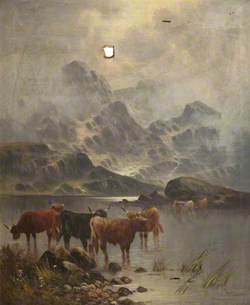 Cattle at Lakeside, Drinking