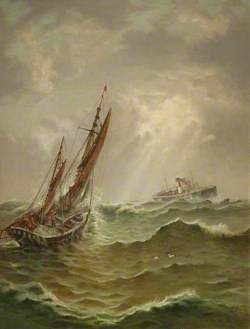 SS 'Brier' and Deep Sea Fishing Boat in a Gale