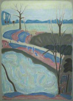 Pond with Blue Figures