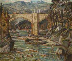 Fisherman, Upland Landscape with Bridge