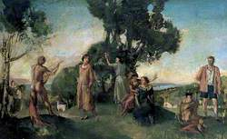 Picnic: A Group of Figures in a Landscape by a River