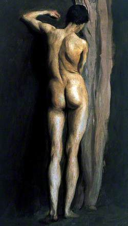 Male Figure Standing by a Pale Brown Curtain