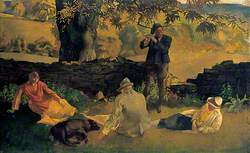 Landscape with Three Figures Picnicking by a Wall and a Boy Playing the Flute