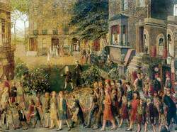 Procession of Figures Leaving a House in a Square after an Auction