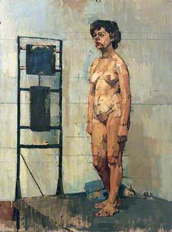 Female Figure Standing by a Heater