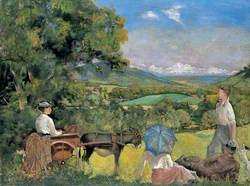 Landscape with a Woman in a Donkey Cart
