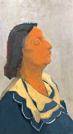 Portrait of a Woman Wearing a Blue Dress