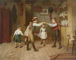 A Group of Children Playing the Game 'Oranges and Lemons' in a Domestic Interior