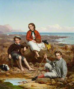 Florence, Arthur and Charles Moore on a Sea-Shore