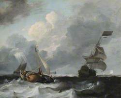 A Storm off the Coast with Men o' War and Fishing Boats