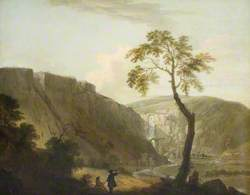 A Rocky Landscape with a Waterfall and an Artist Seated in the Foreground