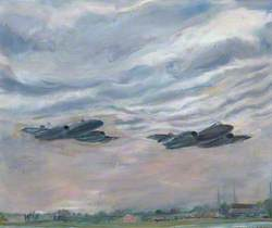 Two Meteor 8s after Take-Off at RAF North Weald