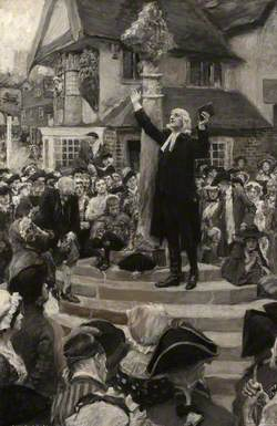 John Wesley Preaching from the Steps of a Market Cross