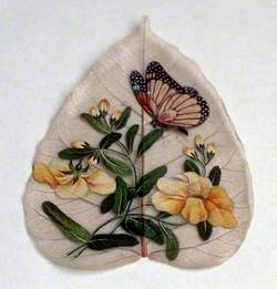 Butterfly and Flowers Painted on a Leaf