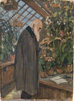 Charles Darwin in the Greenhouse with a Notebook