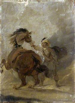 A Man Holding a Horse