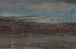 The Thames at Night from the Music Room at 10, Barnes Terrace, London
