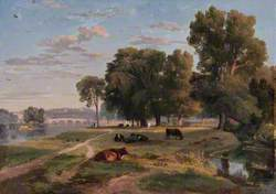The Thames at Richmond from the Middlesex Bank, Looking towards Richmond Bridge