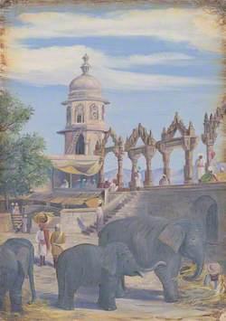 Palace Yard and Female Elephant and Child, Udaipur, India