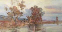 Travellers in River Landscape at Dusk