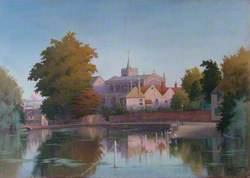 Carshalton Church, Surrey, across the Ponds