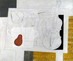 White Still Life with a Red Pear