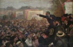 John Burns Addressing an Open Air Audience