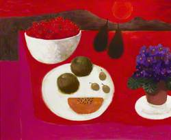 Fruit and Violets on a Red and Pink Ground