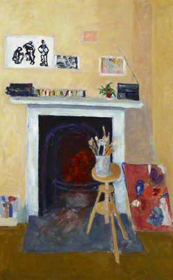 Fireplace with Painting and Brushes