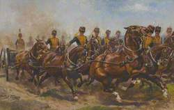 A Battery of the Royal Horse Artillery Galloping to a Fresh Position