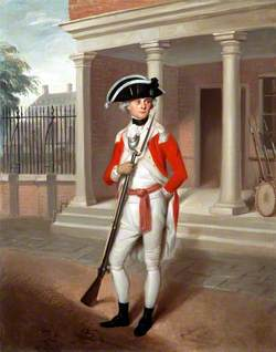 Lieutenant George Belson (1763–1855), Corps of Marines, outside the Guard Room of the Marine Barracks, Chatham